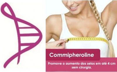 Creme p/ Aumento dos Seios com Commipheroline 1% - 50g + Cápsulas para Firmeza da Pele com Colágeno 500mg, Vitamina A 50.000 UI, Vitamina C 200mg e Zinco 10mg - 60 caps