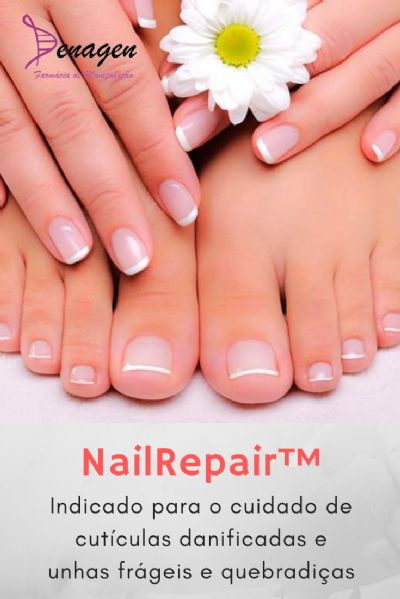 NailRepair™ 10% em Base Transdérmica InDerm V 15ml qsp. Posologia: Aplicar sobre as cutículas e unhas sem esmaltes, massageando suavemente.