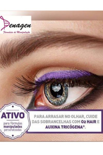 Serum Redução de Falhas e Volume das Sobrancelhas com O2 Hair 5% e Auxina Tricógena 12% - 15ml. Modo de usar: aplicar nas sobrancelhas à noite.