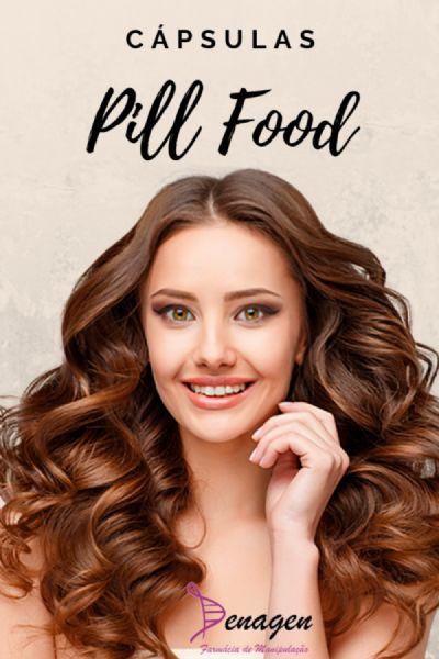 Pill Food  Complexo de Vitaminas para Cabelos e Unhas – 120 cápsulas. Posologia: 2 cápsulas 3 vezes ao dia por 1 a 2 semanas, e a seguir 1 cápsula 3 vezes ao dia, às refeições.
