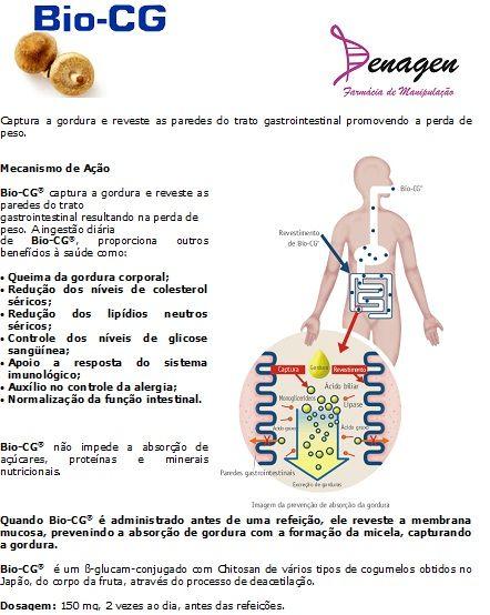 Bio-CG 150mg - 60 cápsulas. Posologia: Tomar 1 cápsula 2 vezes ao dia, antes das refeições.