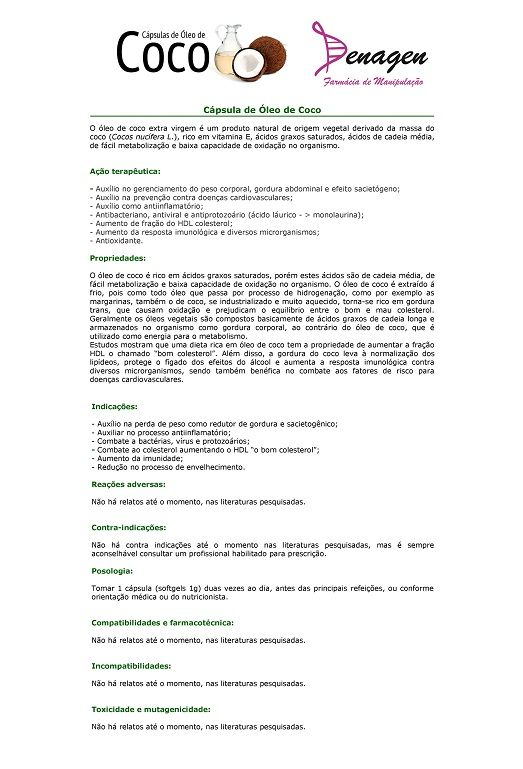 Cápsulas de Óleo de Côco - 60 cápsulas