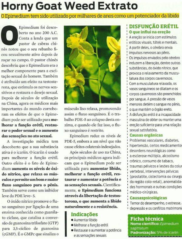 Complexo Estimulante da Libido - Epimedium 500mg + Mucuna 400mg + Tribulus 500mg. Posologia: Tomar 01 dose, 2 vezes ao dia.